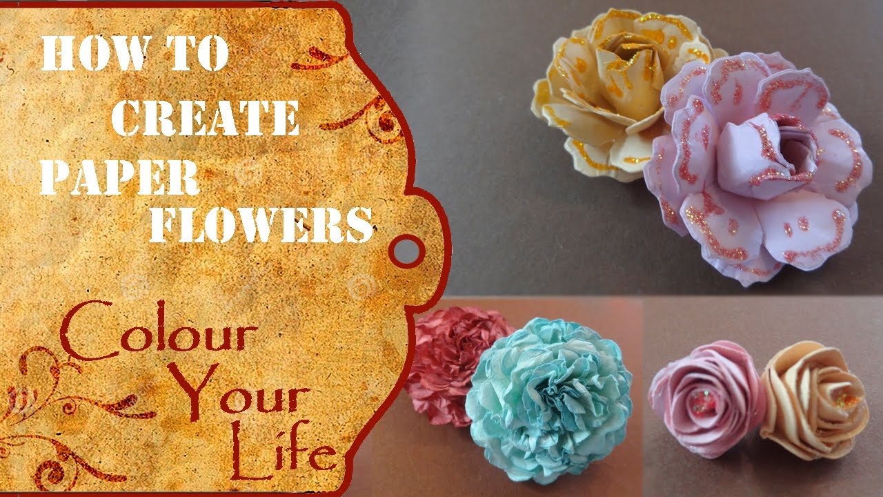How To Create Paper Flowers For A Scrapbook Album Youtube