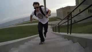 Inline Skating Up stairs; raw clip from next Tutorial- Stop Staring and Start Stairing