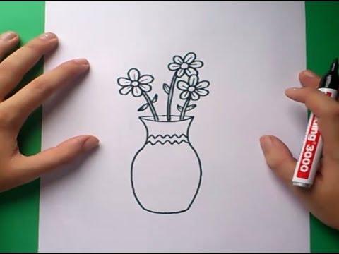 Como dibujar un jarron con flores paso a paso 2  How to draw one