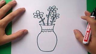Como dibujar un jarron con flores paso a paso 2 | How to draw one vase with flowers 2