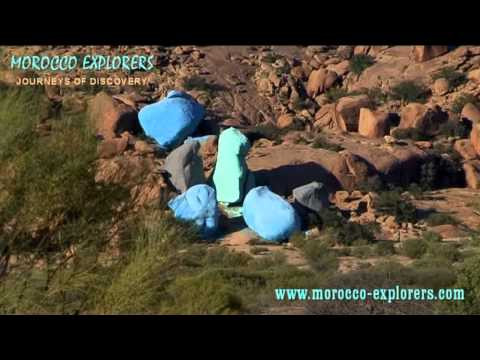 The Blue Rocks near Tafraoute in the Middle Atlas Mountains of Morocco