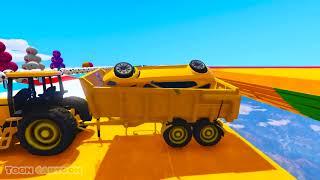 Веселье Обучения Цвета Автомобилей В Тракторе С Супергерой 3D-Анимация Для Детей И Младенцев