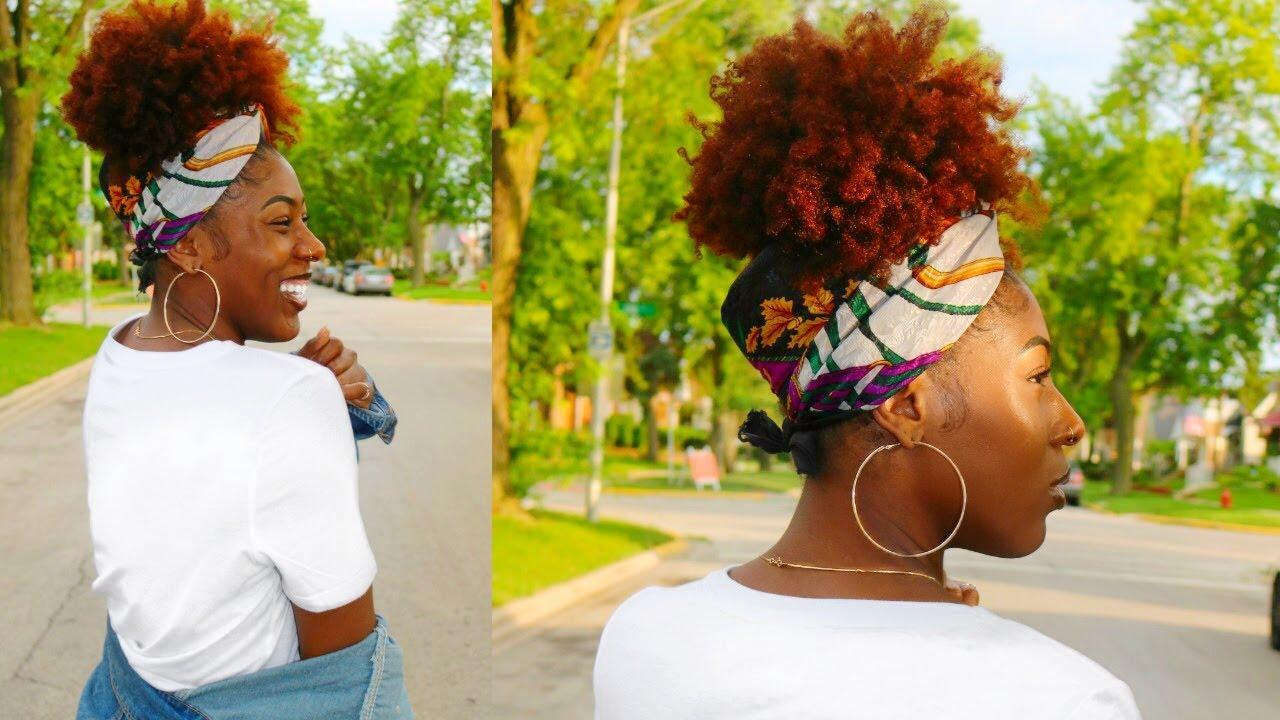 Painless High Puff On Natural Hair Headwrap Turban