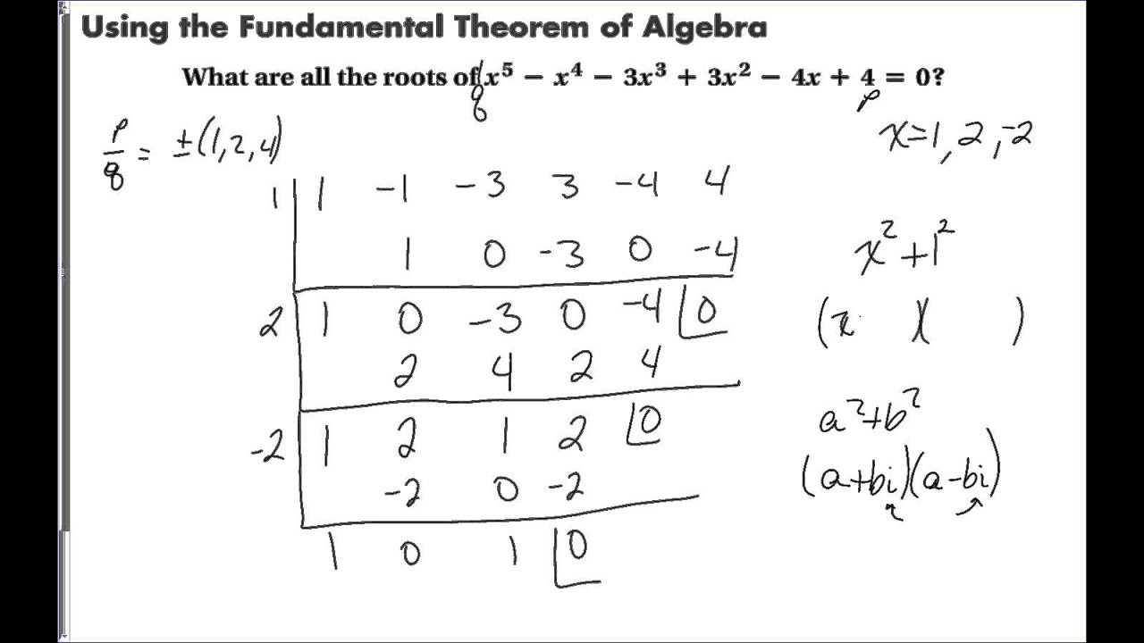 5 6 The Fundamental Theorem Of Algebra Youtube