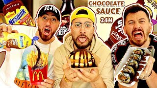 PUTTING CHOCOLATE SAUCE ON EVERYTHING I EAT FOR 24 HOURS! (IMPOSSIBLE FOOD CHALLENGE)