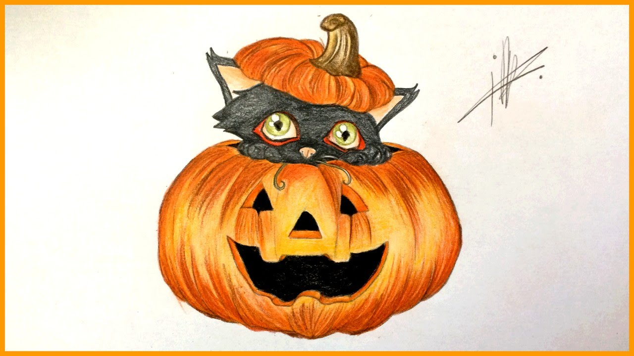 High Quality Drawing A Halloween Pumpkin With A Black Cat