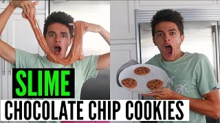 Making Chocolate Chip Cookies out of SLIME! *DIY  Brent Rivera