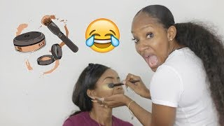 Friend does my makeup CHALLENGE | PETITE-SUE DIVINITII