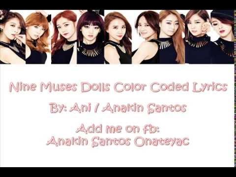 Nine Muses Dolls Color Coded Lyrics