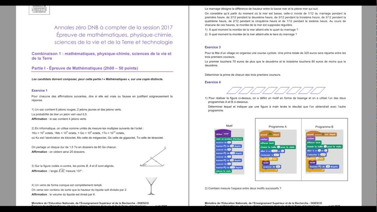 What Is Svt >> Le nouveau Brevet des collèges 2017- sujet zéro - Epreuve sciences- maths-Phys.SVT - YouTube