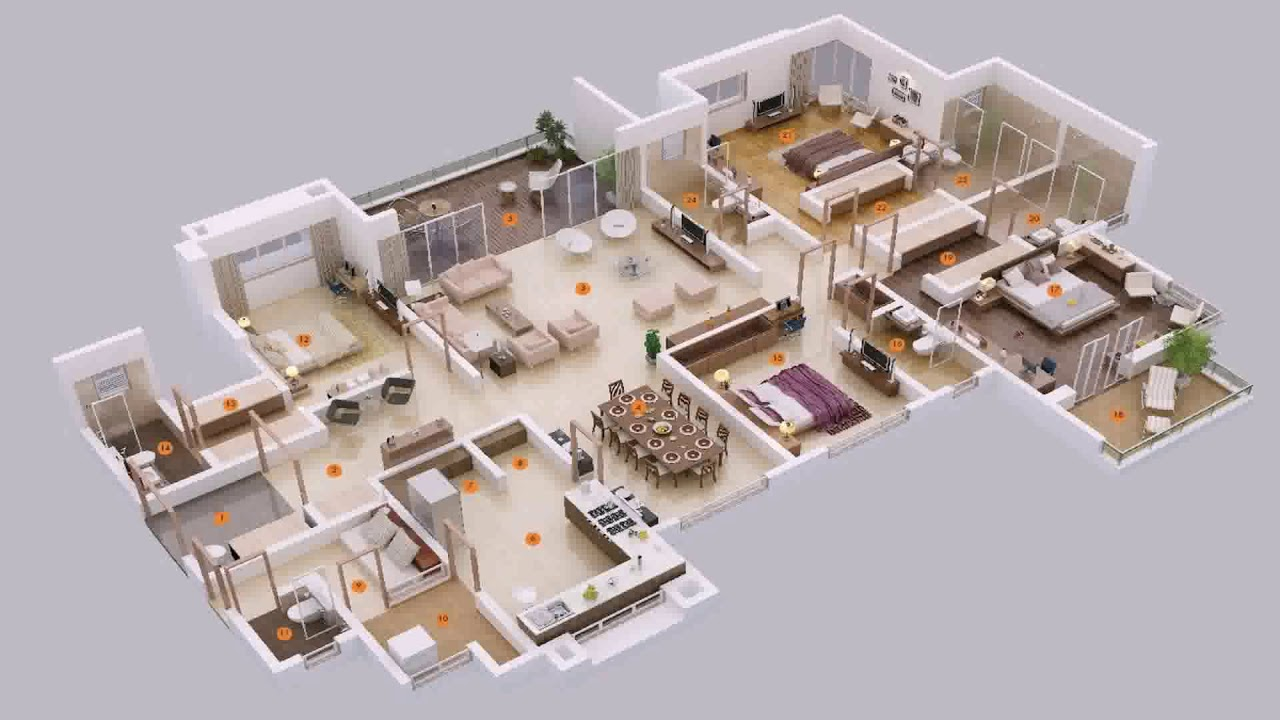 4 bedroom house plans 2 master suites youtube for House plans with 3 master suites