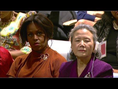 Michelle Obama speaks at U.N. education event
