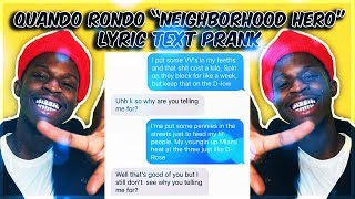 "QUANDO RONDO ""NEIGHBORHOOD HERO"" LYRIC TEXT PRANK ON INSTAGRAM MODEL"