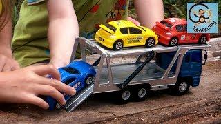 Машинки игрушки, автовоз, эвакуатор и гоночные тачки. МанкиИгрушки