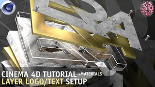 Tutorial: C4D Layered Logo/Text Setup + Materials by Qehzy