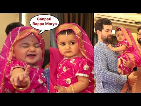 Neil Nitin Mukesh Daughter Nurvi Looks Cute In Pink Lehenga At Ganesh Chaturthi Celebration 2019