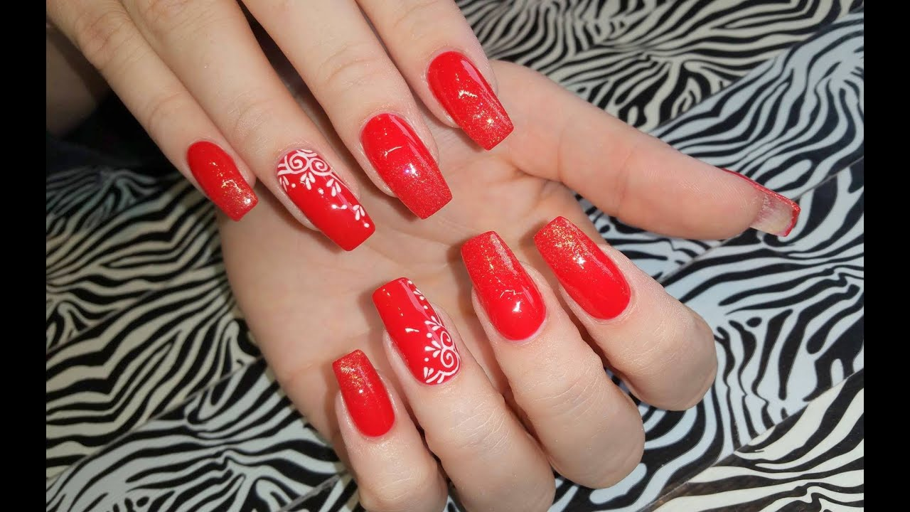 Acrylic Nails Infill L Sexy Red Glitter Coffin Nail Design