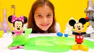 Polen ile #kızoyunları. Mickey Mouse laboratuarı oyunu. Zıplayan topları yapıyoruz ve #slimeoyunları