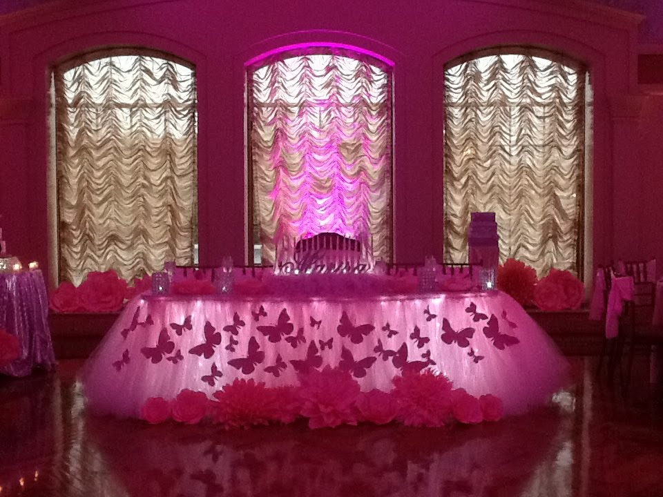 High Quality Pink Butterfly Themed Tutu Fairy Table Skirting