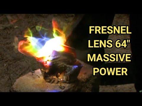 "GIGANTIC Solar Fresnel Lens 64"" spot Solar concrete crusher can melting with a solar scorcher"