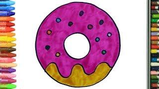 Как нарисовать пончик | Раскраски детей HD | Рисование и окраска | Рисование для детей