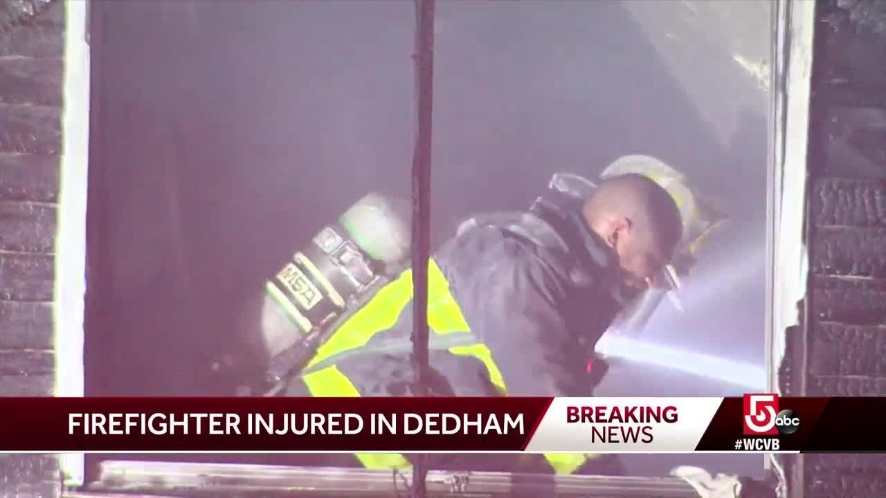 Firefighter injured battling Dedham blaze