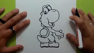 Como dibujar a Yoshi paso a paso - Videojuegos Mario | How to draw Yoshi - Mario video games