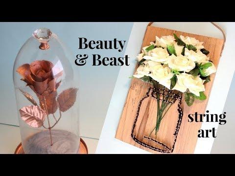 DIY STRING ART e Rosa de A Bela e a Fera   Beauty& Beast