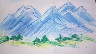 Mountains drawing in simple steps with oil pastels | Hillside landscape painting