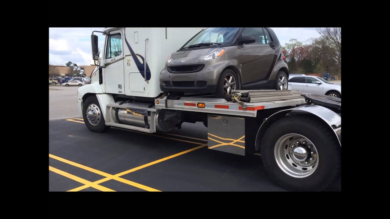 Semi Truck with tiny car mounted  YouTube