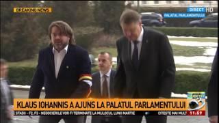 Klaus Iohannis, întâmpinat la Parlament de Mihai Goţiu și Cătălin Predoiu