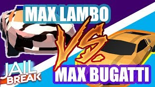 Roblox Jailbreak Race: Lamborghini vs Bugatti - Both at MAX!!