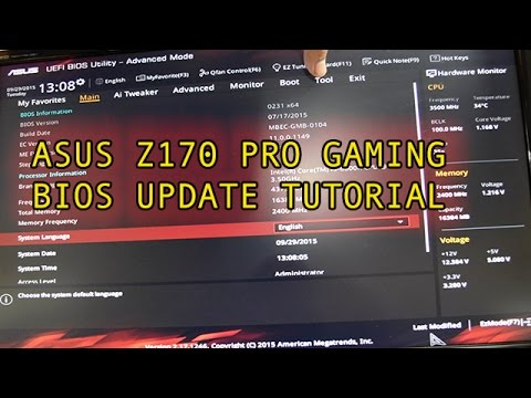 BIOS Update Guide Asus Z170 Pro Gaming Motherboard