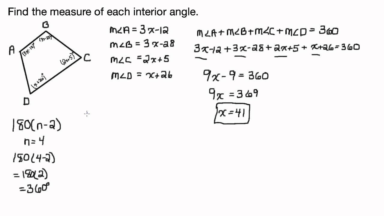 Find The Measures Of Each Interior Angle Quadrilateral Youtube
