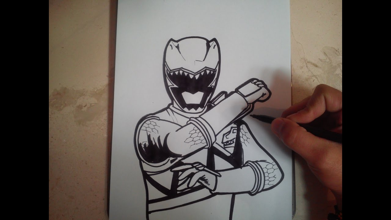 How To Draw Power Ranger Dino Charge Green Como