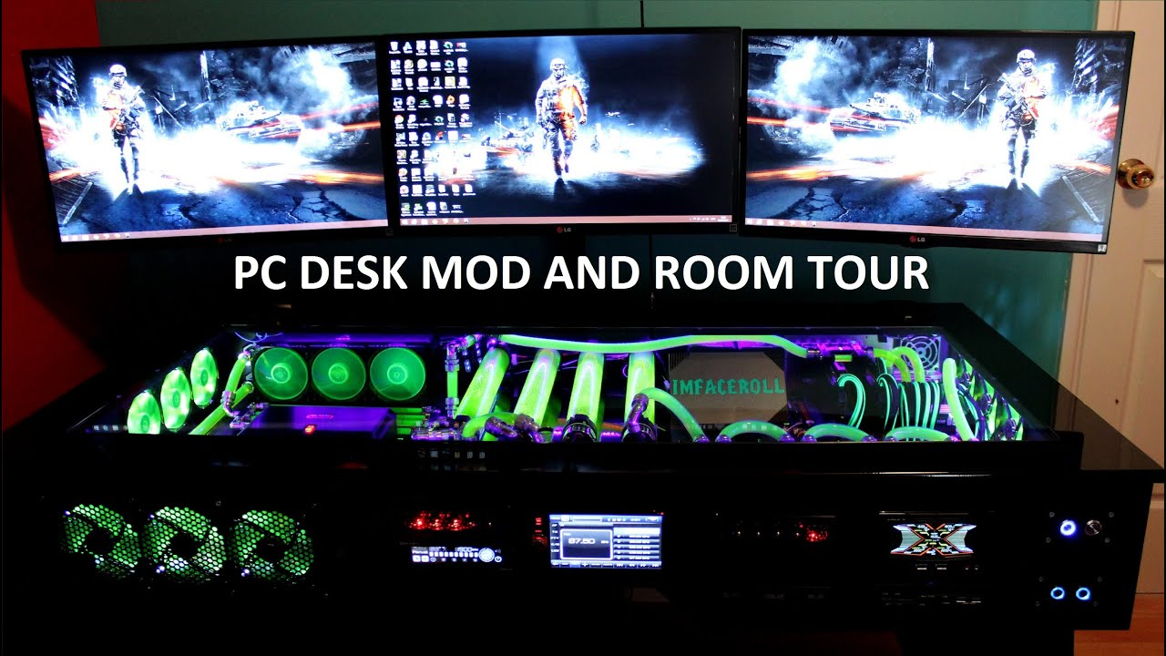 My Gaming Setup, PC Desk Mod And Room Tour!!   YouTube