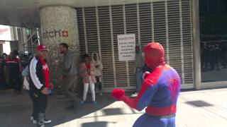 Man hit spiderman in times Square.