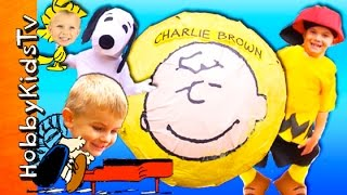 Giant CHARLIE BROWN Surprise SMASH EGG Adventure! Snoopy Poo + Lucy Psych Booth HobbyKidsTV