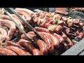 Huge Rural Skewers and Big Sausages Tasted in Prague. Czech Street Food