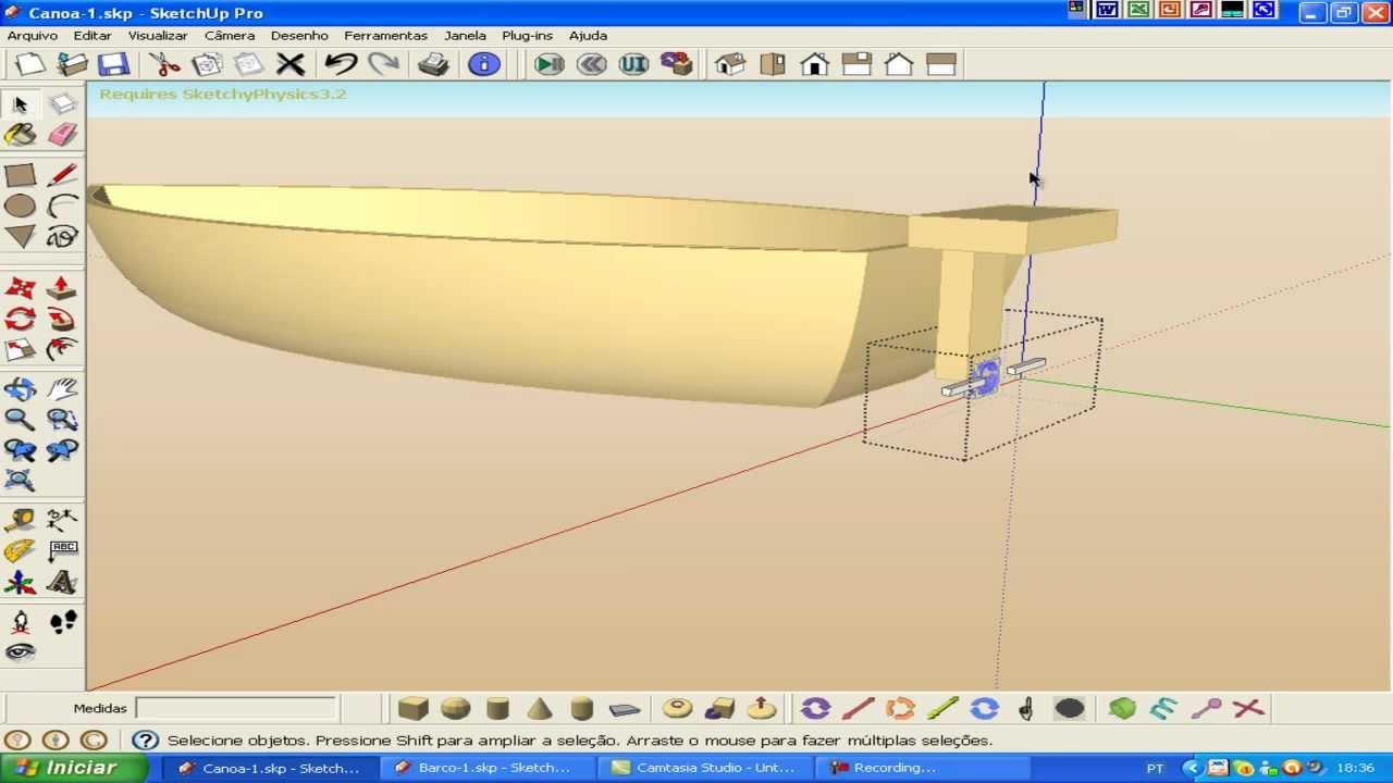 video aula barco boat sketchup sketchyphysics. Black Bedroom Furniture Sets. Home Design Ideas