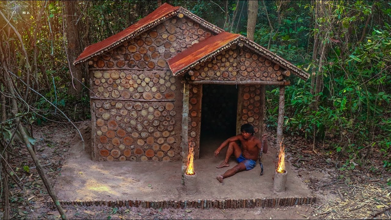 Building The Most Beautiful Wooden House Villa With Red Mud Roof