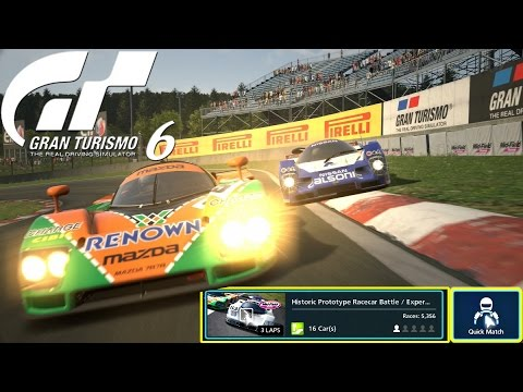 Gran Turismo 6 Quick Match Historic Prototype Racecar Expert Mid-Field Raceway-Nissan R92CP Online