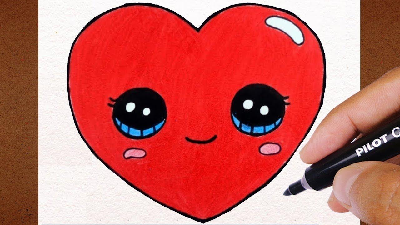Coracao Kawaii Facil Fofinho Vamos Desenhar Youtube