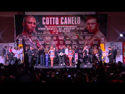 Watch: MIGUEL COTTO VS CANELO ALVAREZ OFFICIAL WEIGH IN - 1:00 PM PT