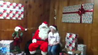 Girl pulls off santas beard