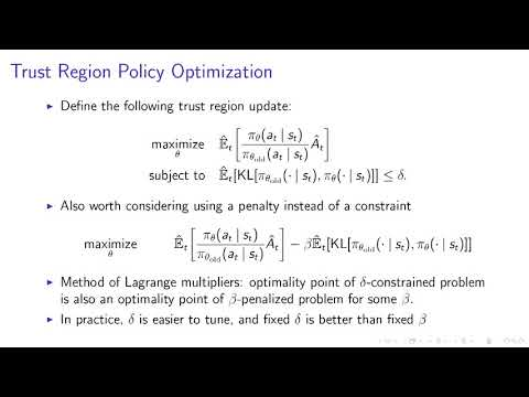 Deep RL Bootcamp  Lecture 5: Natural Policy Gradients, TRPO, PPO