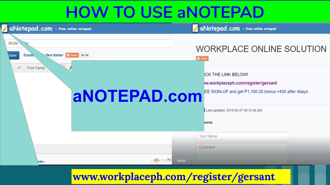 HOW TO USE ANOTEPAD in SHARING LINKS_#3