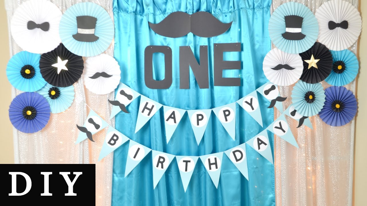 Diy Little Man 1st Birthday Decorations Birthday Decor Ideas At Home For Boy Youtube