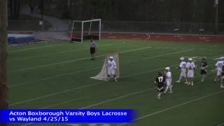 Acton Boxborough Boys Lacrosse vs Wayland 4/25/15