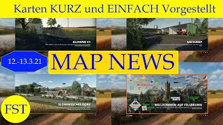 """[""""LS19 MAP NEWS 12.-13.3.21 [Karten KURZ und EINFACH Vorgestellt] Glowe"""", """"Michamp"""", """"Felsbrunn edit by MC"""", """"Volksstedt"""", """"Slovak Village"""", """"LS19 Mapvorstellung""""]"""